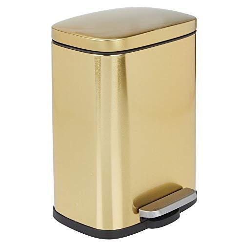 MDesign Cubo de basura con pedal, tapa y cubo de plástico - Contenedor de residuos...