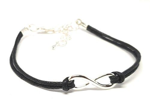 freundschaftsbaender leder Infinity Armband - Handmade Leder Armband Unisex - Größe verstellbar (schwarz/silber)