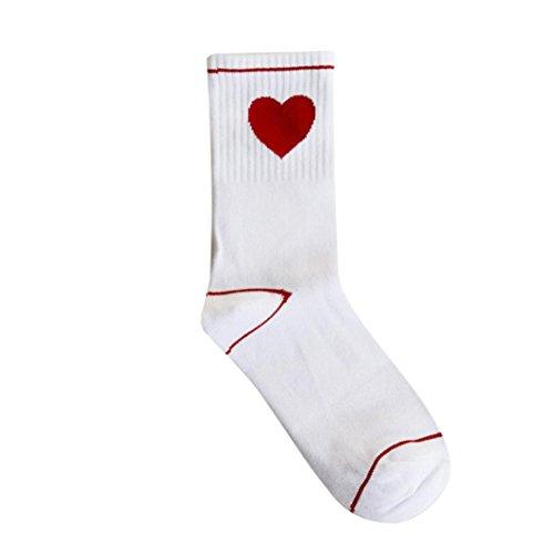 Minshao Frauen Herz Socken Damen Mädchen Baumwolle Warm Soft Sox (Weiß)