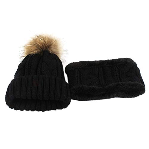 Kabel Stricken Baumwolle Hut (Jintime Unisex Schwergewicht Kabel Stricken Winter Beanie Hat (Black))
