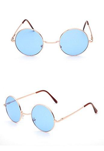 ille UV 400 Runde Polarisierte Getönte Retro Brille für Damen und Herren Vintage Unisex Fashion Brille Retro Sunglasses Steampunk Brille (Blau) (John Lennon Brille Blau)
