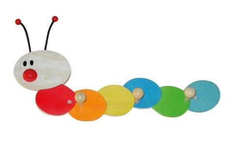 Bieco 23021947 - Kindergarderobe Raupe mit 3 Haken, ca. 38 cm