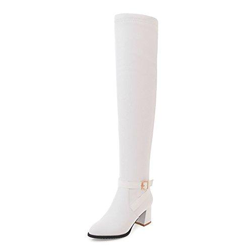 WIKAI Donna Stivali Stivali moda autunno inverno similpelle Abbigliamento Casual Zipper Chunky Heel Bianco Nero 2A-2 3/4in,Black,noi6.5-7 / EU37 / UK4,5-5 / CN37 Black