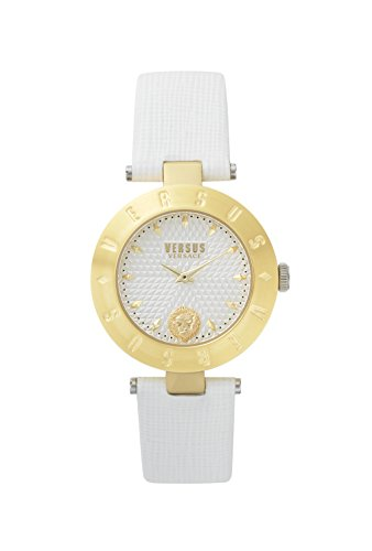 Versus by Versace Women's 'NEW LOGO' Quartz Stainless Steel and Leather Casual Watch, Color White (Model: S77030017)