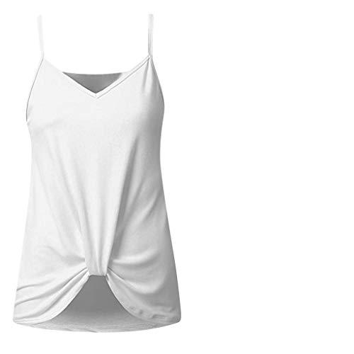 Yvelands Damen Weste Ärmelloses T-Shirt Sommer Solide Ärmelloses Shirt Bluse Lässige Tanktops(Weiß,M)