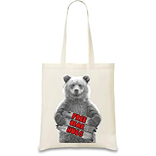 Josh God Apparel Bear Hugs - Free Bear Hugs Custom Printed Tote Bag| 100% Soft Cotton| Natural Color & Eco-Friendly| Unique, Re-Usable & Stylish Handbag For Every Day Use| Custom Shoulder Bags By