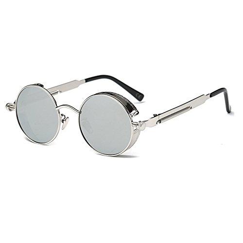 AMZTM Kleine Rund Verspiegelt Linsen Polarisiert Punk Sonnenbrille für Damen und Herren (Silber, 48)