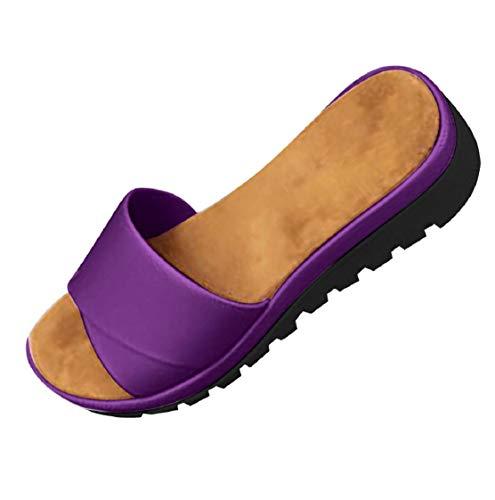 Sandalias Mujer Zapatillas Color Puro Pisos Sandalias