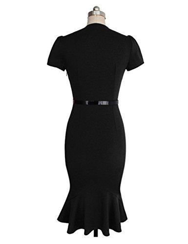 VKStar® Retro klassic 50er 60er formale mit Blumen Tupfen Rockabilly Bleistiftkleid Cocktailkleid Abendkleid Schwarz M -