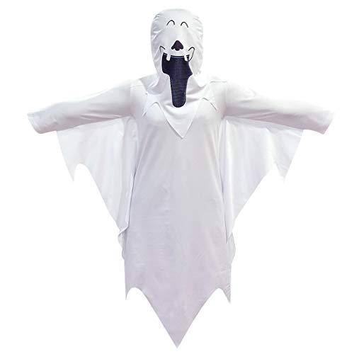 QYS Halloween Ghost Kostüm Kid Hooded Cape mit Maske Cosplay Robe Scary Hat Boy Girl Kostüm Zombie Mantel White Devil Soul - Poncho Devil Kostüm