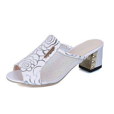 LvYuan Da donna Sandali Con cinghia TPU Estate Casual Formale Footing Con cinghia Traforato Quadrato Bianco Nero Rosa 5 - 7 cm White