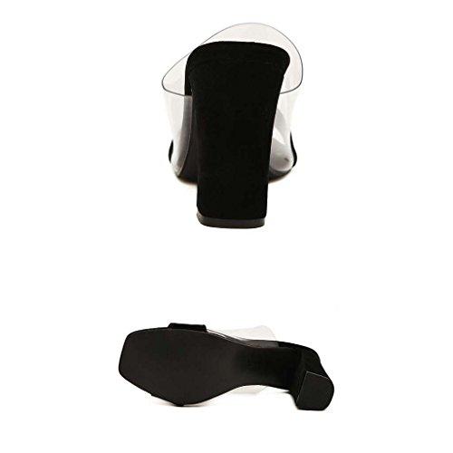 SHEO sandales à talons hauts Mme épaisse avec une plate-forme étanche avec des sandales à talons hauts à talons hauts ( Couleur : Blanc , taille : 36 ) Noir
