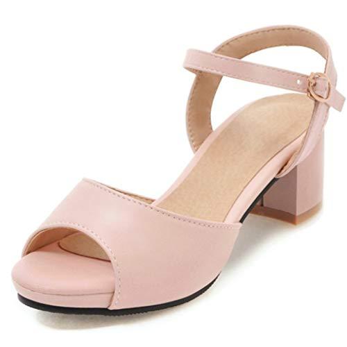 OLEEKA Damen Block-High Heel Sandalen Schnalle Riemen Leder Pumps Peep Toe Kleid Casual Party Schuhe, Pink - Rose - Größe: 38 EU Floral Peep-toe-heels
