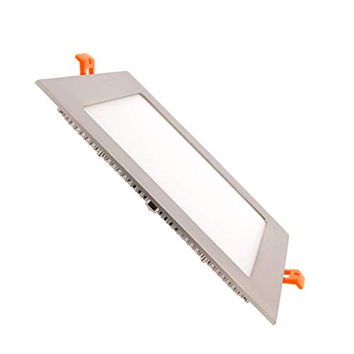 Placa LED Cuadrada SuperSlim 15W Silver Downlight LED Blanco Neutro 4000K-4500K efectoLED