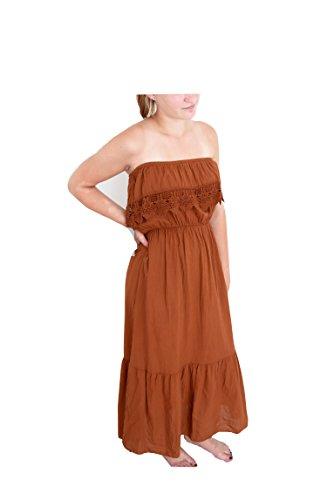 Off Shoulder Boho Kleid Romantiklook Maxikleid schulterfrei Häkeleinsatz 38 40 42 S M L Bohème (8229) (rost braun) (Plaid-luxus-kleid-shirt)