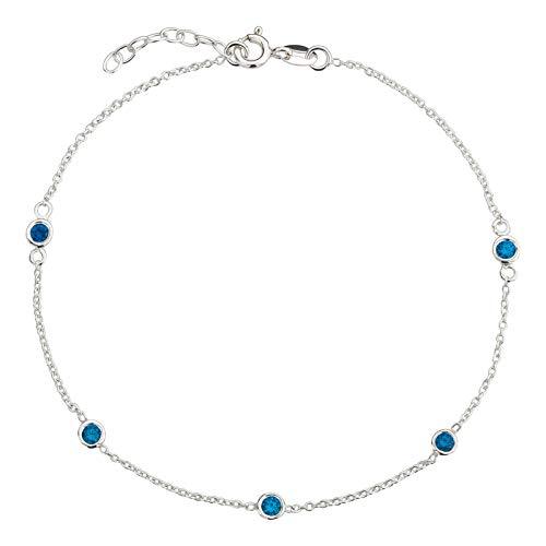 FIVE-D Fusskette Fusskettchen Kristall Länge 23-25 cm 925 Sterling Silber im Schmucketui (Blau)