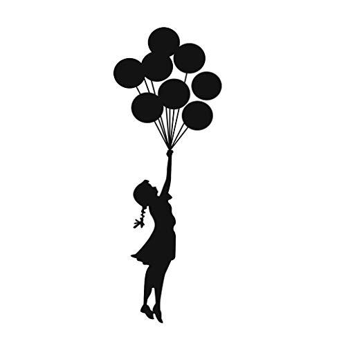 Modely Cartoon Mädchen und Luftballons Wandaufkleber 3D Fenster Wandtattoos Wohnkultur Für Kinderzimmer Dekoration Mobile Kreativwand mit dekorativer Wand Fensterdekoration (Schwarz, B)
