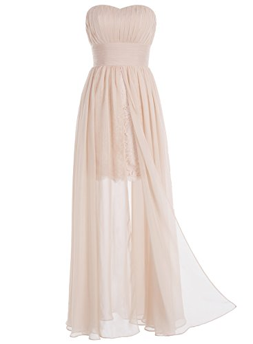 Bbonlinedress Robe de demoiselle d'honneur forme empire sans bretelles longueur ras du sol Blanc