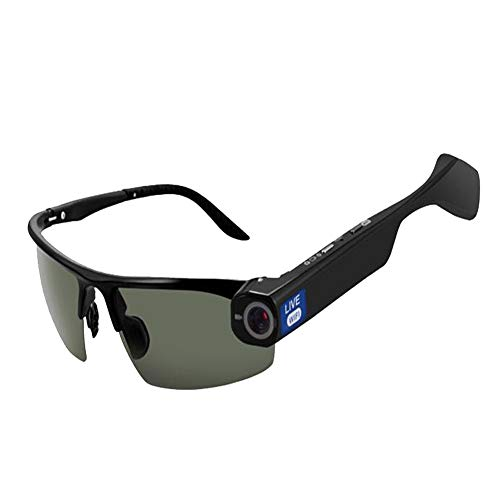 KCaNaMgAl Intelligente Brille, intelligente Videobrille, Sprechanlage, WiFi-Video-Live-Video, HD 1080P-Kamera, Echtzeit-Sharing-Brille,Black