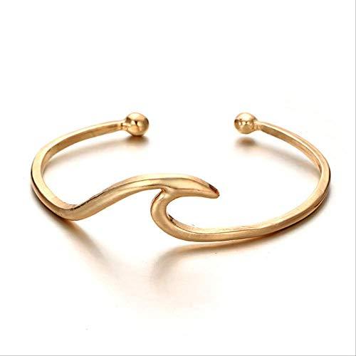 BDCF Armband Bohemian Wave Armreif für Frauen Mädchen Gold Metall Ocean Surfer Armbänder Statement Schmuck 6400 Gold -