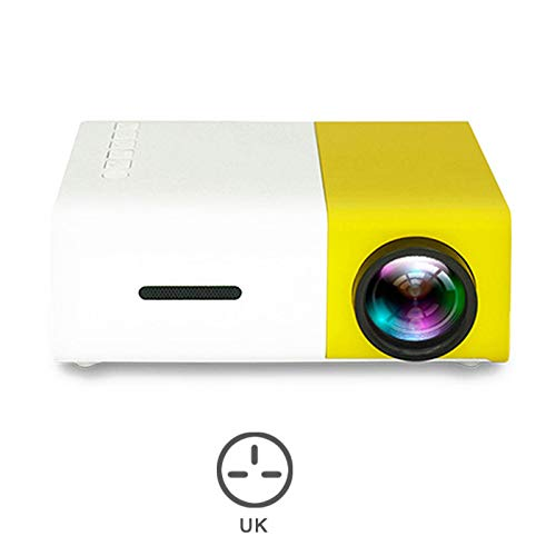 Ohyoulive Mini Projector - Portable Theater Home Office HD 1080P Yellow LED Home Office HD Mini Projector Multimedia for Children Present, Video TV Movie, Party Game, Outdoor Entertainment New Infocus Portable Projection Screen