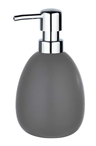 WENKO Seifenspender Polaris - Flüssigseifen-Spender, Spülmittel-Spender Fassungsvermögen: 0,39 l, Keramik, 9,5 x 16 x 9 cm, grau matt