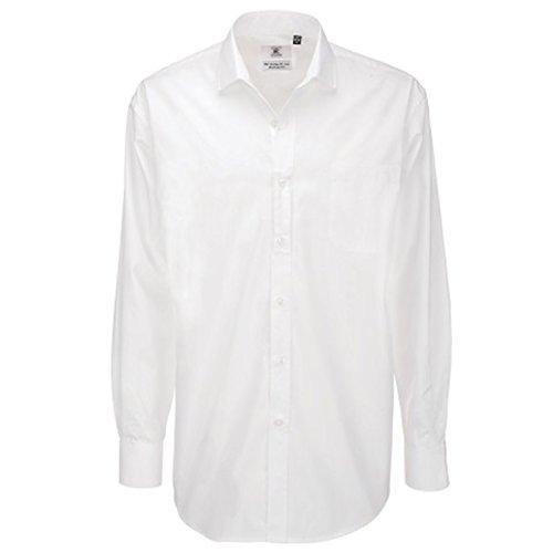 B&C Collection Herren Modern Business-Hemd Weiß