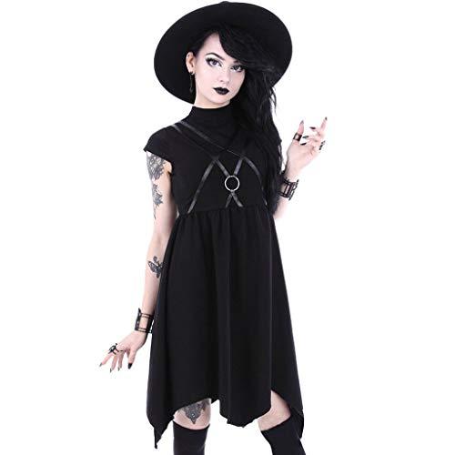 Gothic Kleidung Damen Punk T-Shirt Kleid Piebo Mittelalterkleid Lolita Kleid Schwarz Bluse Hoher Kragen Kurzarm Top Shirt Casual Kleid Vintage Mode Freizeit Oberteil Rock Streetwear mit Ledergürtel