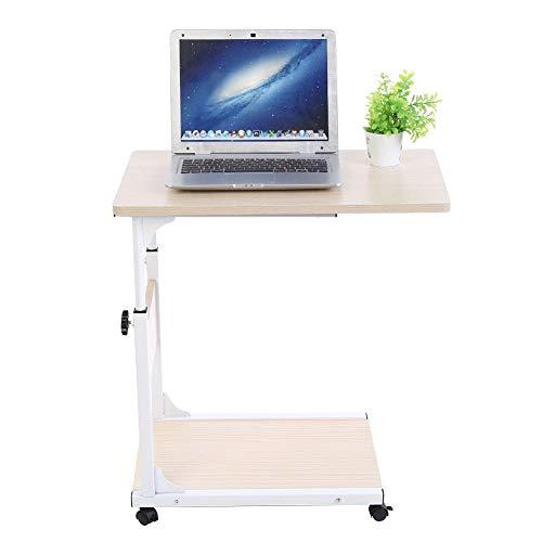 GOTOTOP Multifunktionaler Rolltisch Pflegetisch Sofatisch Laptoptisch Beistelltisch mit Rollen, zweilagig, höhenverstellbar 55-80cm (Weißer Ahorn)