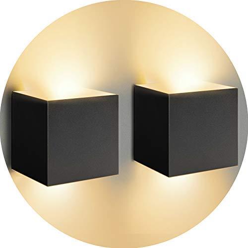LED Wandleuchte 12W 2er Pack Modern High Bright Warmweiß Wandlampe Mit Einstellbar Abstrahlwinkel LED Wandbeleuchtung IP65 Innen/Außen