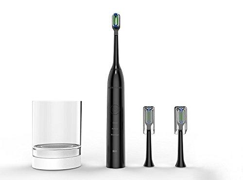 Sonic Elektrische Zahnbürste mit Munddusche 3 Modi Wiederaufladbare Schall Zahnbürste  Newstart mit Timer und mit 5 Ersatzbürstenköpfe IPX7 Wasserdicht Standard Schwarz