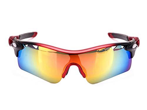 MaxAst Sonnenbrille Motorrad Brille für Herren Arbeitsbrille Antibeschlag Rot Schwarz