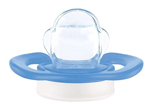 NIP Dental-Schnuller Miss Denti: Erster Schnuller, der Beißdruck verteilt, in mehreren Größen, Made in Germany, BPA-Frei, Größe 1 - Grau & Blau