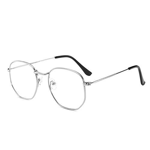 Yangjing-hl Retro Metall multilateralen großen Rahmen Brillengestell literarischen Fan Wilde Dekoration Flachspiegel mit Brillengestell Silberrahmen (klein)