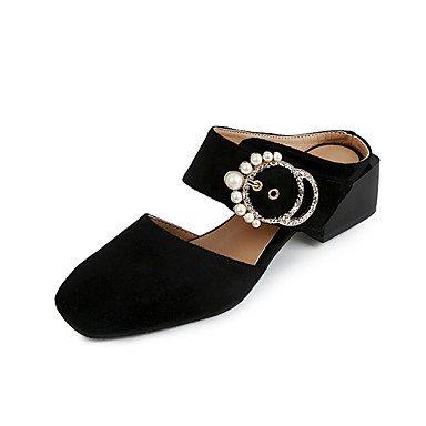 LvYuan sandales été slingback molleton décontracté en plein air gros talon perle marche Brown