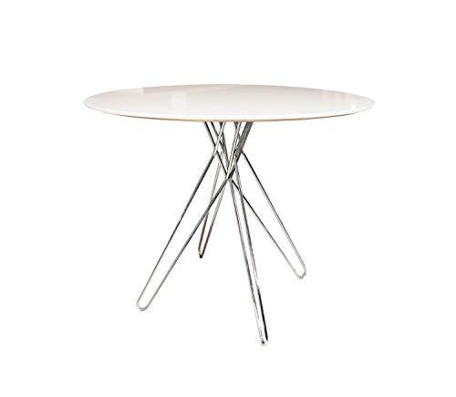 Meubletmoi Table Ronde 90 cm Blanche Style Contemporain épuré Vintage - Pied Design chromé - IKONE