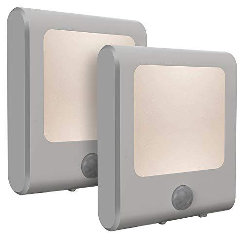 Vintar LED Nachtlicht Steckdose mit Dämmerungssensor Bewegungsmelder Steckdosenlicht Schlaflicht Helligkeit stufenlos einstellbar für Schlafzimmer Kinderzimmer Warmweiß 2 Stück -