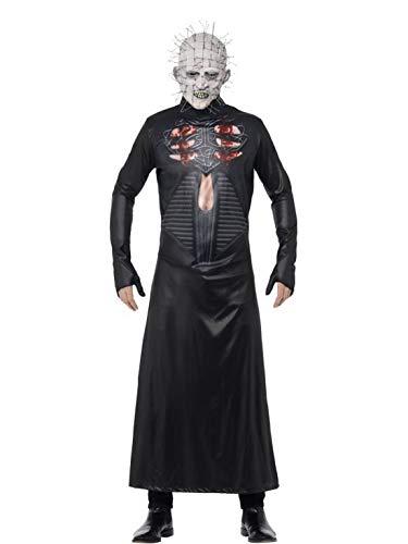 erdbeerclown - Herren Männer Kostüm grusliger Pinhead mit Bedruckter Tunika und Maske, perfekt für Halloween Karneval und Fasching, M, Schwarz (Herren Pinhead Kostüm)