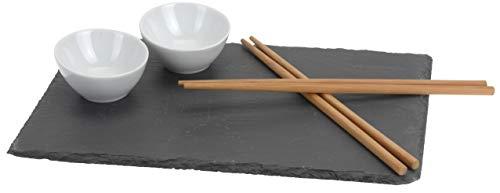 Juego de platos para sushi. con placa de pizarra de auténtica piel auténtica piedra pizarra con 2cuencos para salsas para salsa de soja y wasabi. incluye 2pares de palillos de bambú. Set de regalo de 7piezas.