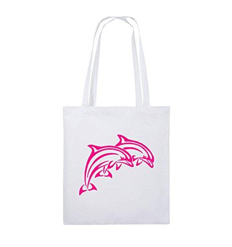 Comedy Bags - DELPHINE - Jutebeutel - lange Henkel - 38x42cm - Farbe: Schwarz / Silber Weiss / Pink