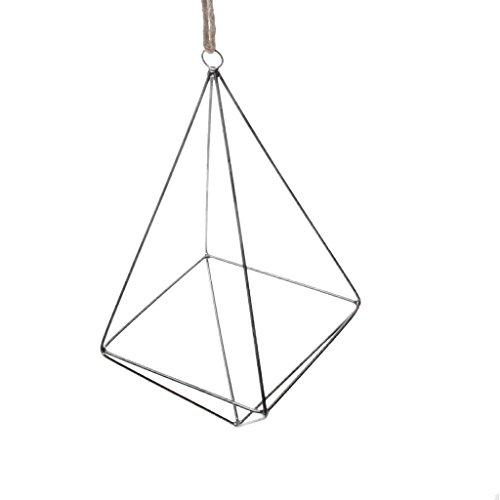 Gazechimp Cadre Cuivre Suspendu Forme Diamant Porte Plante Fleur/Abat-jour Lumière Style Industriel Décor pour Cérémonie - Noir, L