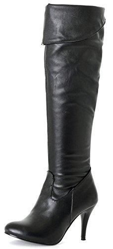 Damen Stiletto Heels Sexy Über Knie Stiefel Große Größe Kunstleder High Heel Party Schuhe Spitz Reißverschluss Stretch Reiten Hohe Stiefel EU 38 Schwarz (Beine Schwarze Stiefel Schnalle Plattform)