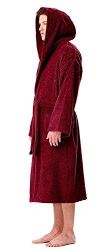 Astra Accappatoio in spugna con cappuccio, per uomo e donna, in spugna di puro cotone con lunghi riccioli (380 g/m²), lunghezza: medio, morbido, bene assorbenza Bordeaux