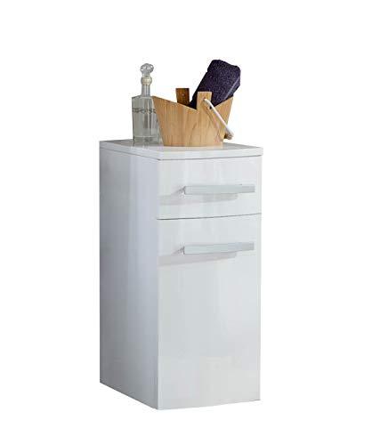 SAM Bad-Unterschrank Genf, Hochglanz weiß, mit 2 Schubladen, pflegeleichtes Badmöbel, Waschtischunterschrank mit Soft-Close, 35 x 60 x 35 cm -