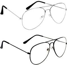 Sheomy Full Rim Rectangular Unisex Spectacle Frame, 55(Black, Silver-Raees) - Combo of 2