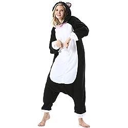 DarkCom Femmes Kigurumi Une Piece Pyjama Dessin Anime Halloween Cosplay Vetements Hoodies, Nouveau Chat Noir, M pour la Hauteur(155CM-170CM)