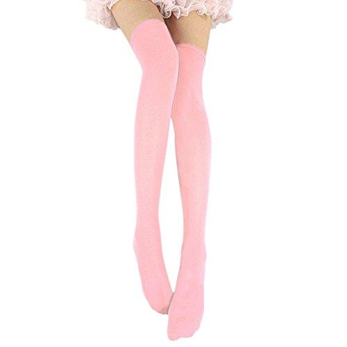 Esbelle Damen halterlose Strümpfe über Knie-Lang Kniestrümpfe Socke Frauen Strumpfhose Bunt (Pink)