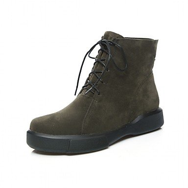 GLL&xuezi Da donna Stivaletti Comoda Innovativo Stivaletti alla caviglia Autunno Inverno Finta pelle Footing Casual Lacci Piatto Nero Verde army green