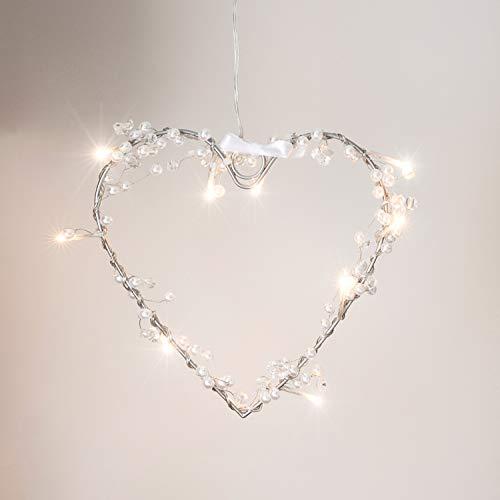 Lights4fun Ghirlanda a Forma di Cuore con 10 luci LED Bianco Caldo
