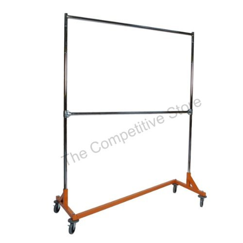 Commercial Garment Rack (Commercial Grade Rolling Nesting Garment Clothing Z Rack, Orange Safety Base: 5 Ft. Uprights with Double Rails by Bayfield Trading Post)